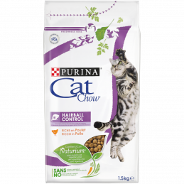 PURINA CAT CHOW Cat, Hairball Control с Naturium суха храна с Пиле